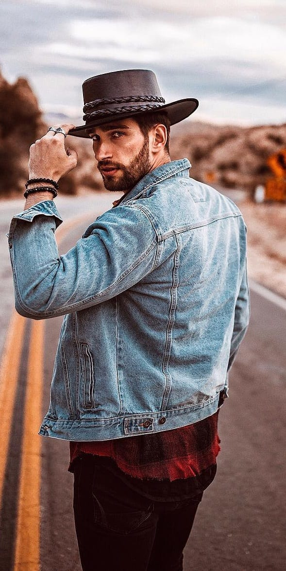 Hat,Denim Jacket Men's Street style Outfit