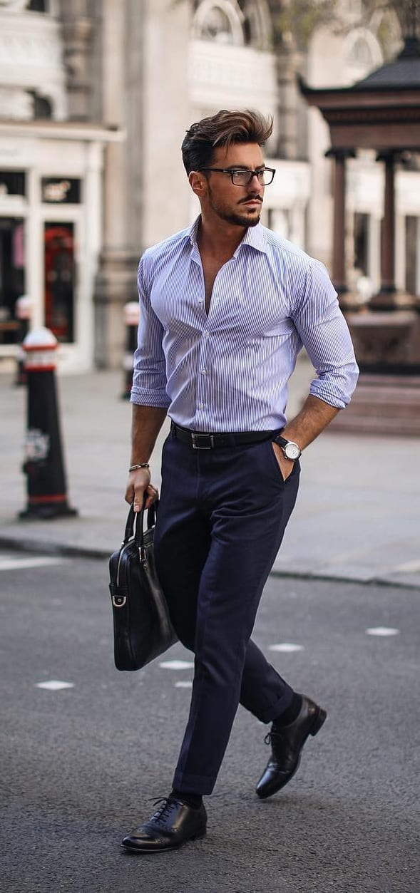 Lavender Shirt and Blue Chinos Outfit for men