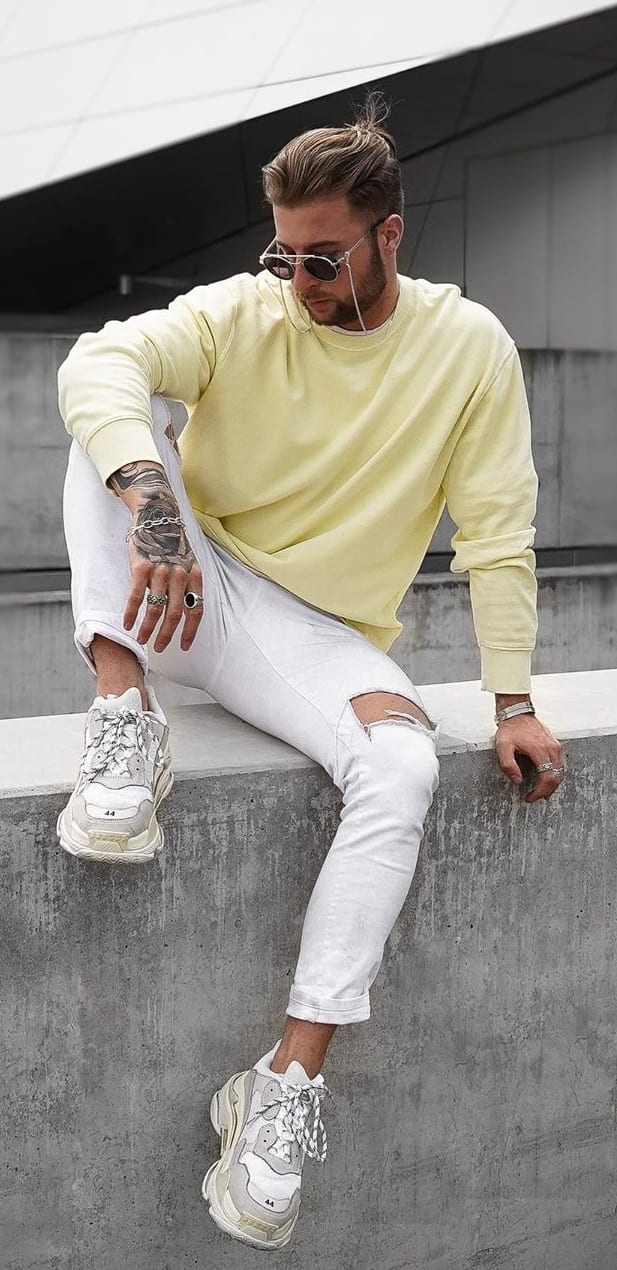 Light Yellow Pastel T shirt and White Jeans Outfit