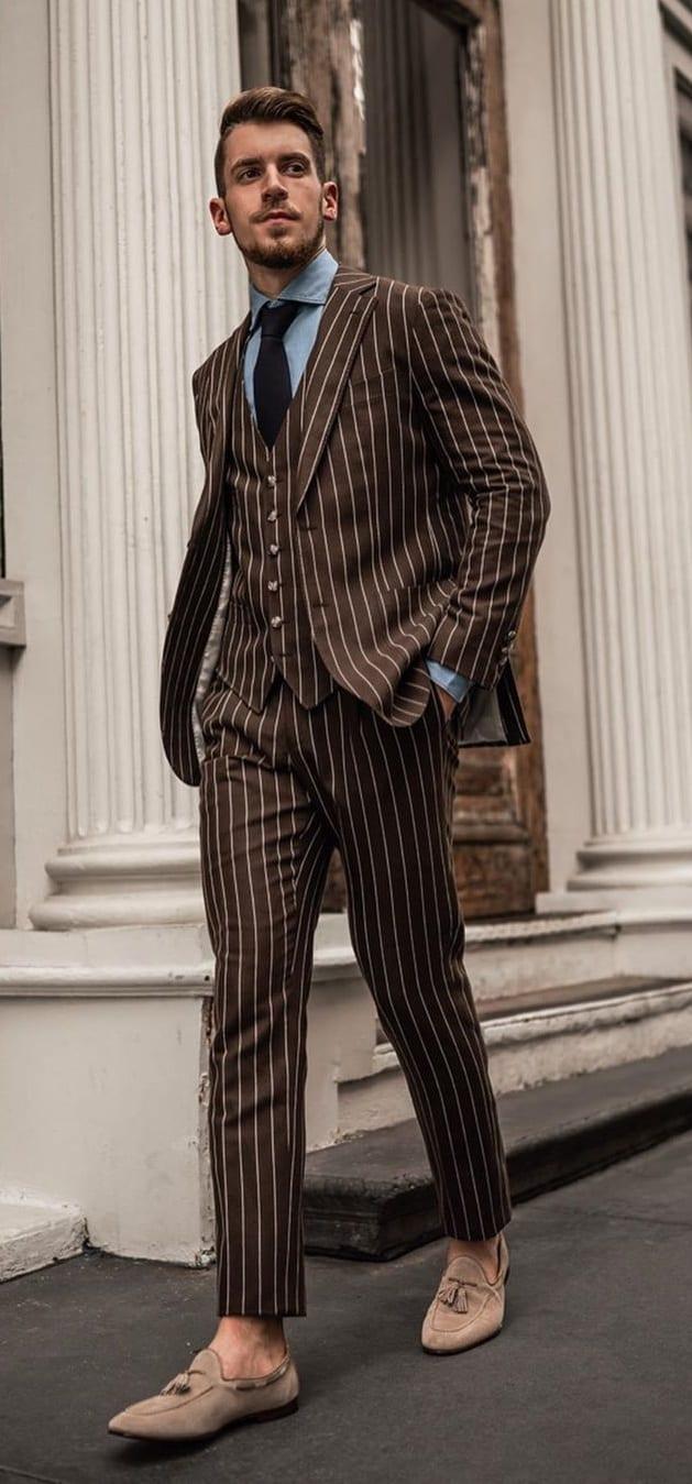 Brown Striped Business Suit Ideas