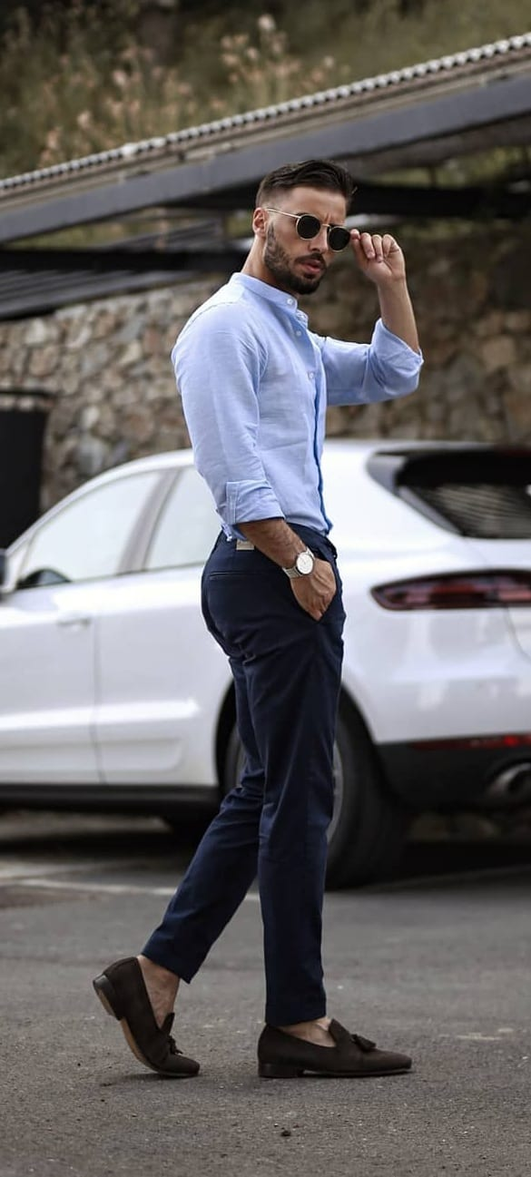 Pastel Blue Formal Dress Shirt and Chinos Ideas