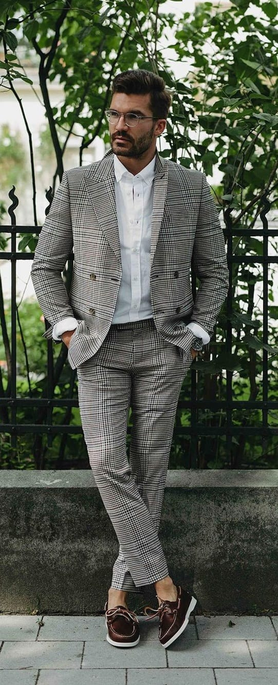 Modern Suit Style -Grey Plaid Suit