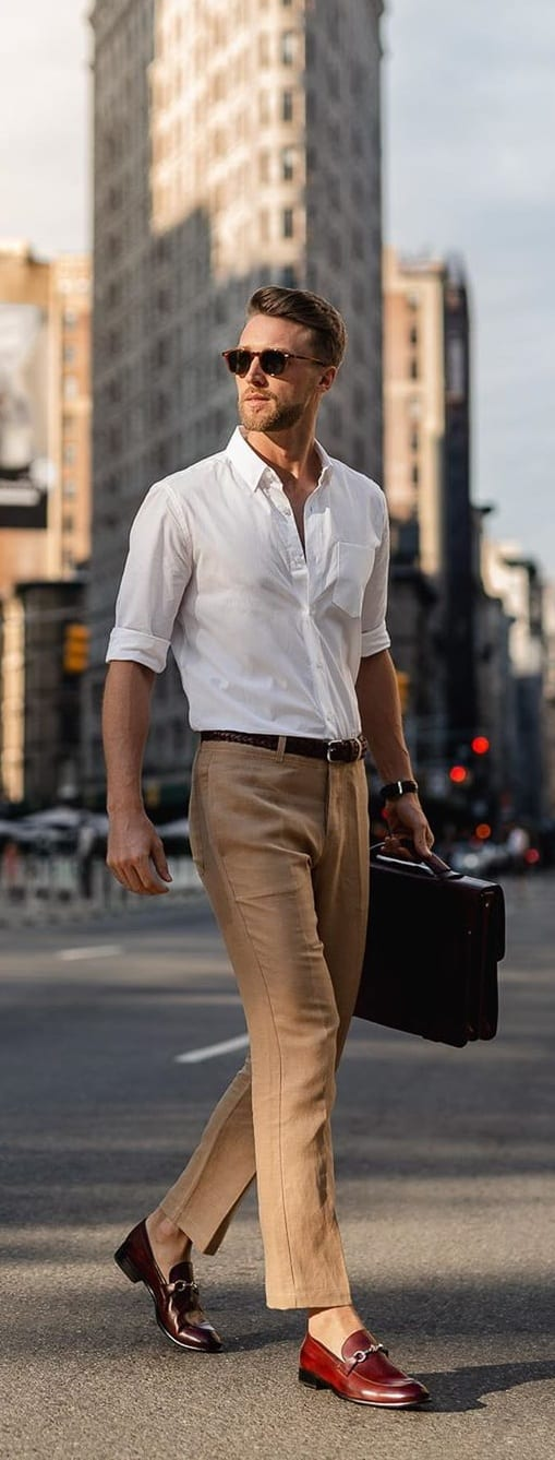 Classic White Shirt and Khaki Pant Office Wear for Mens