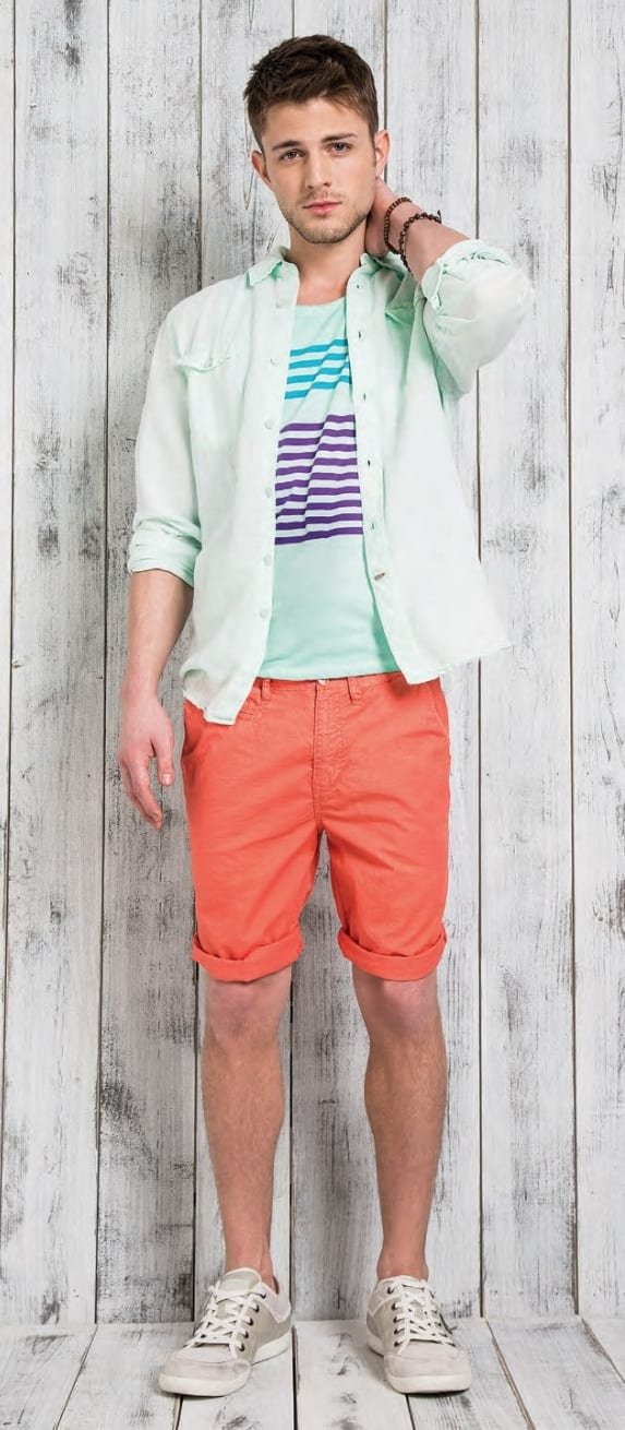Mint Green Shirt Jacket, T shirt and Orange Shorts Outfit
