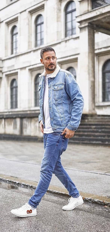 Misfit Denim Jacket and Denim Jeans Outfit for men