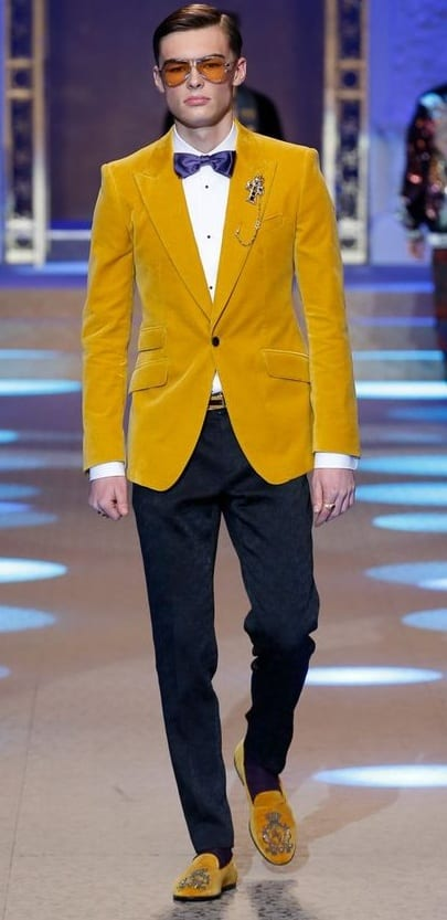 Mustard Yellow Blazer, Mustard Yellow Loafers, White Shirt, Black Velvet Pants, and Bow Tie