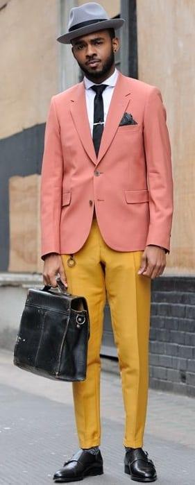 Mustard Yellow Trousers, Peach Blazer, White Shirt and Hat