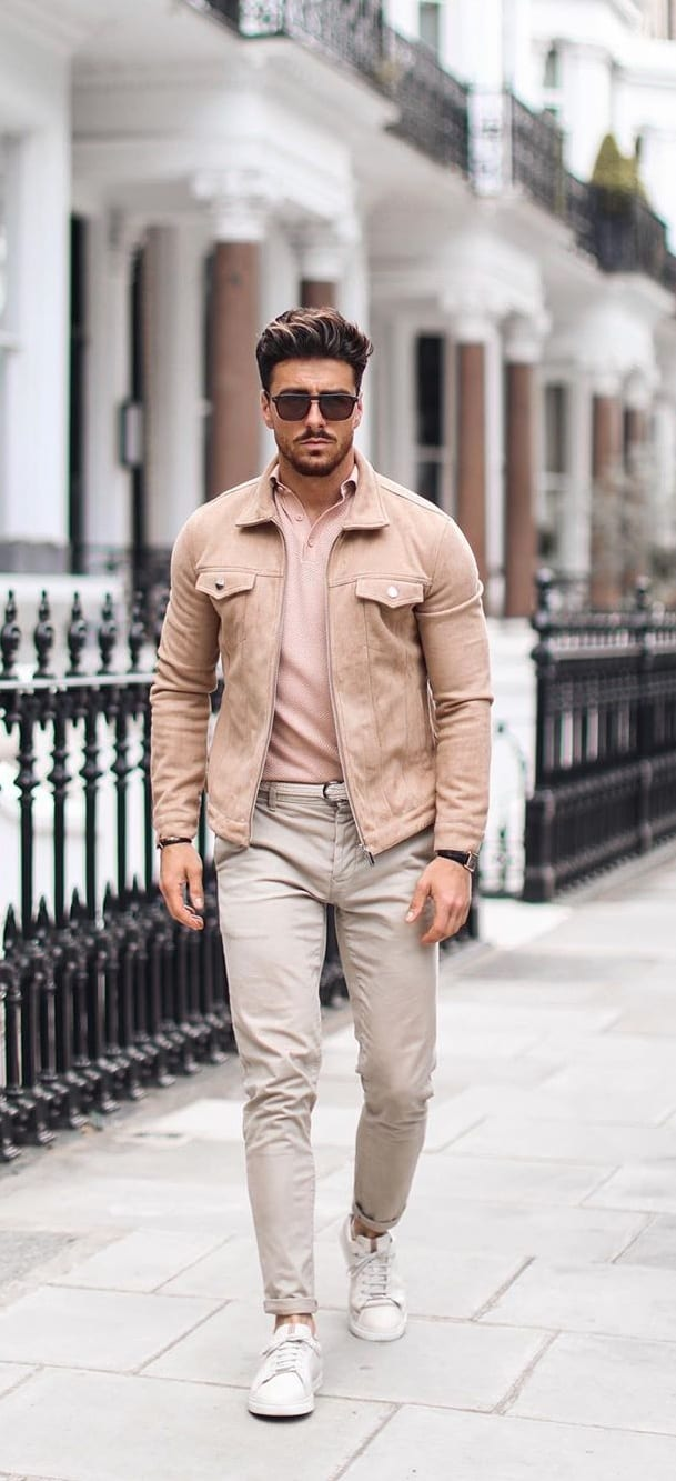 Nude Polo t-shirt, Nude Jacket and Chinos- OOTD for men
