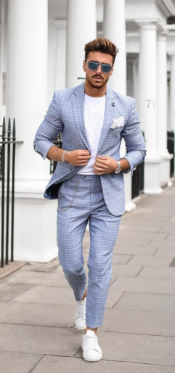 Pastel Blue Suit with White Undershirt Outfit for men