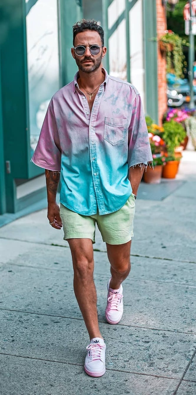 Pastel Pink and Blue Shirt, Pastel Green Shorts and Pink Shoes-OOTD for men