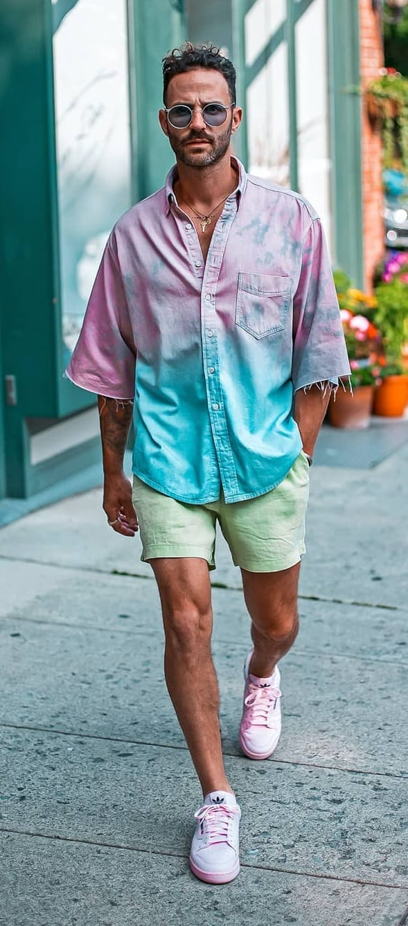 Pastel blue and pink shirt with mint green shirts
