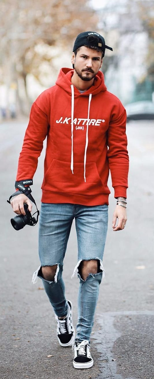 Red Hoodie Blue Jeans Outfit-Street Style Fashion