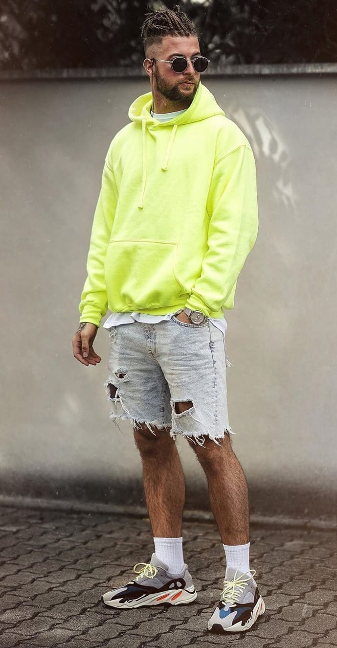 Ripped Denim Shorts, Green Hoodie and Shoes- ootd for men
