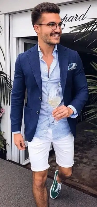 Royal Blue Blazer White Shorts Outfit Ideas for men
