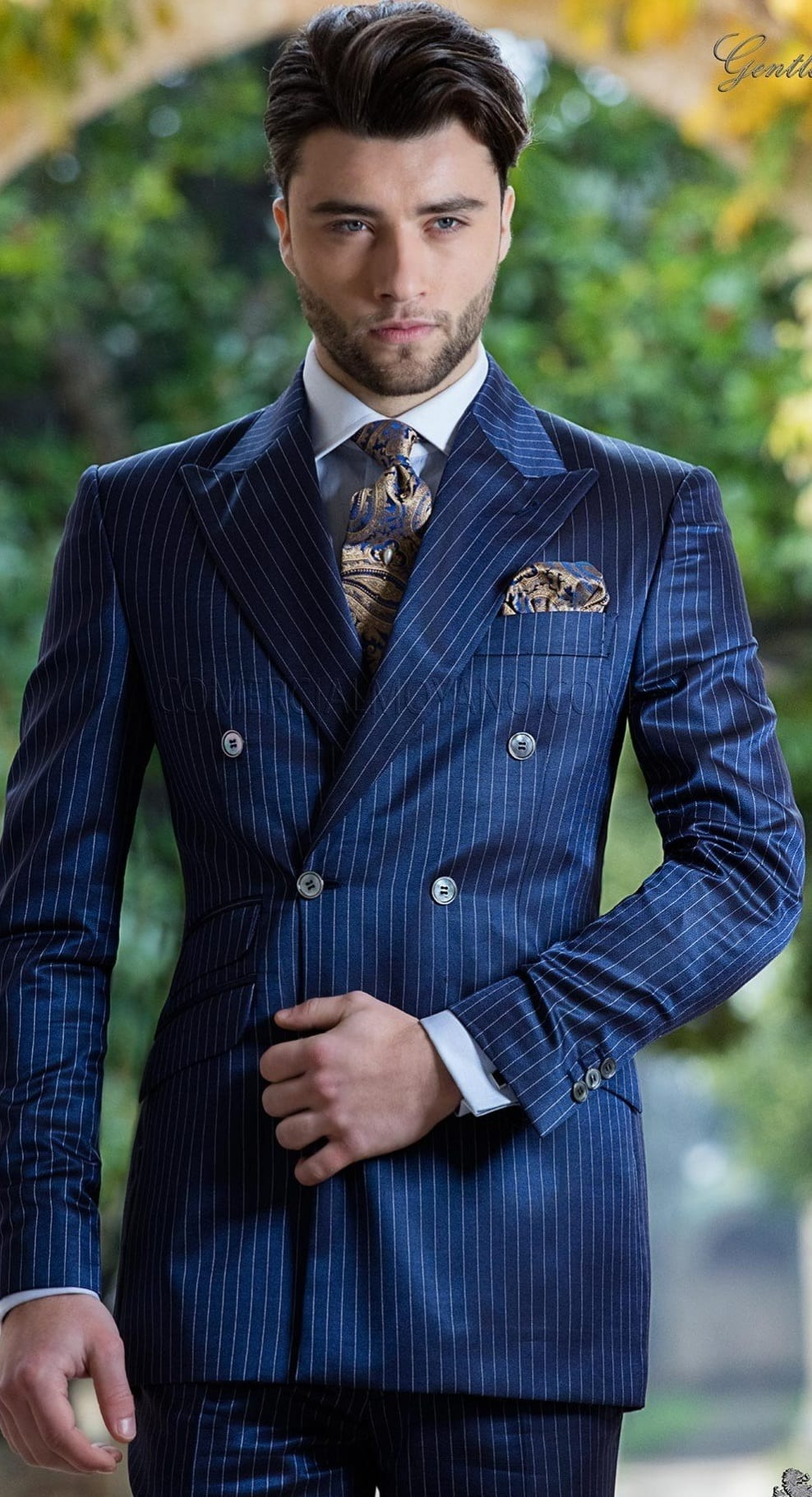 Royal Blue Double Breasted Suit outfit for men