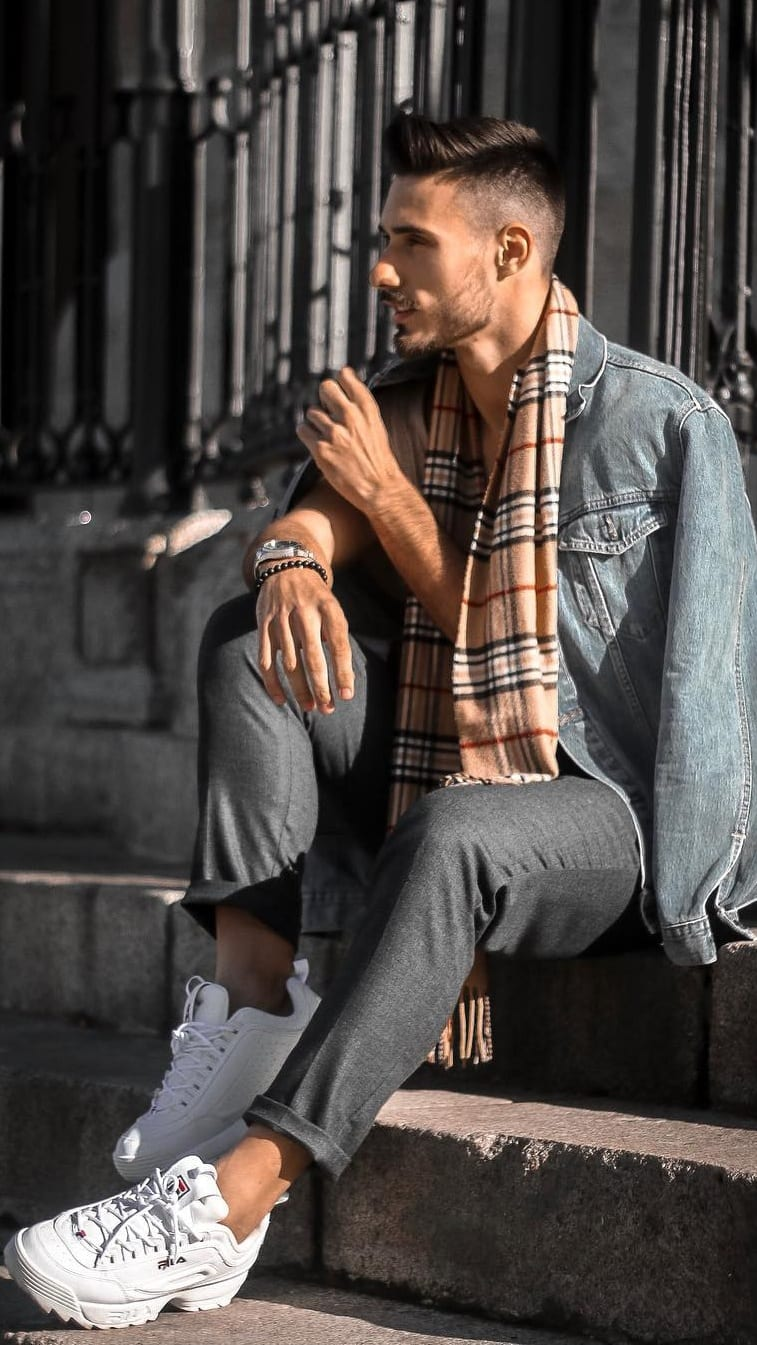 Scarf, White Sneakers,Casual Outfit for men's street style
