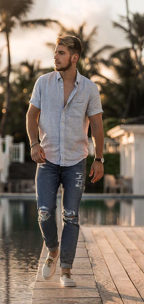 Simple and Subtle Linen Shirt and Blue Ripped Denims- OOTD FOR MEN