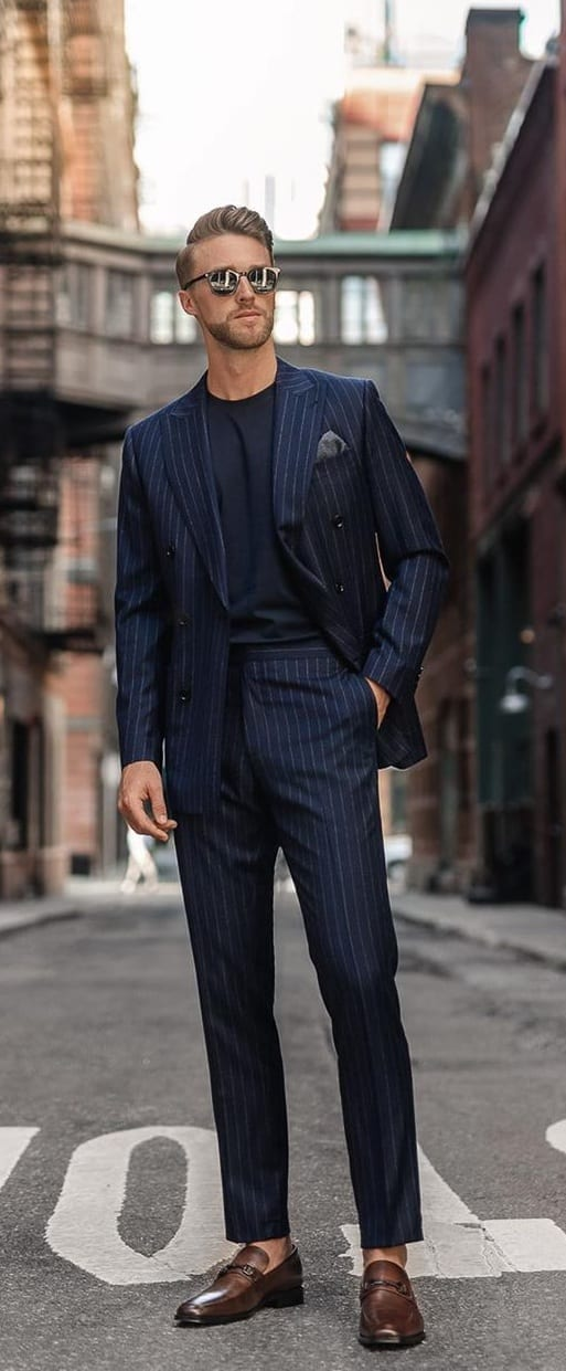 Striped Blue Suit with Black Undershirt Outfit