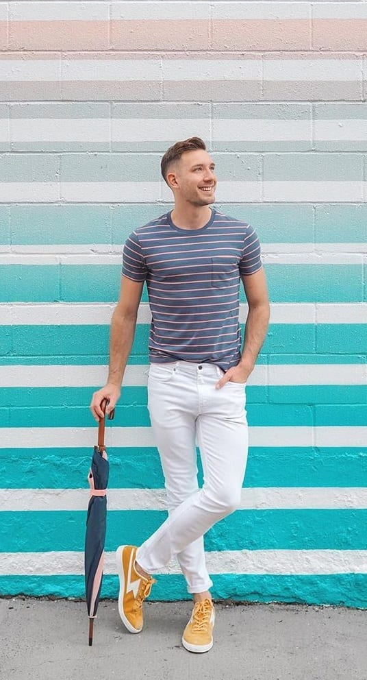 Blue Striped T shirt and White Pants- ootd for men