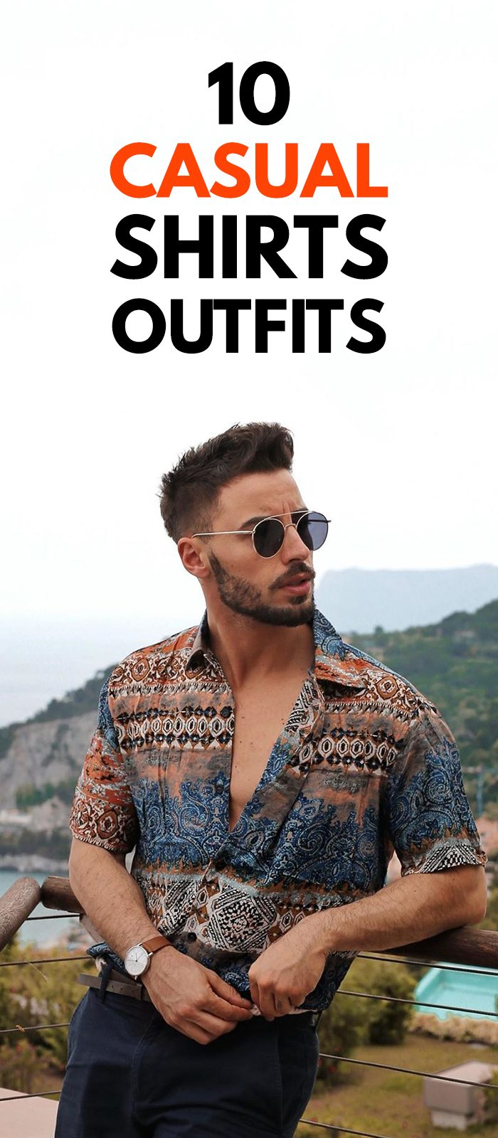 Printed Casual Shirt Outfit for Men