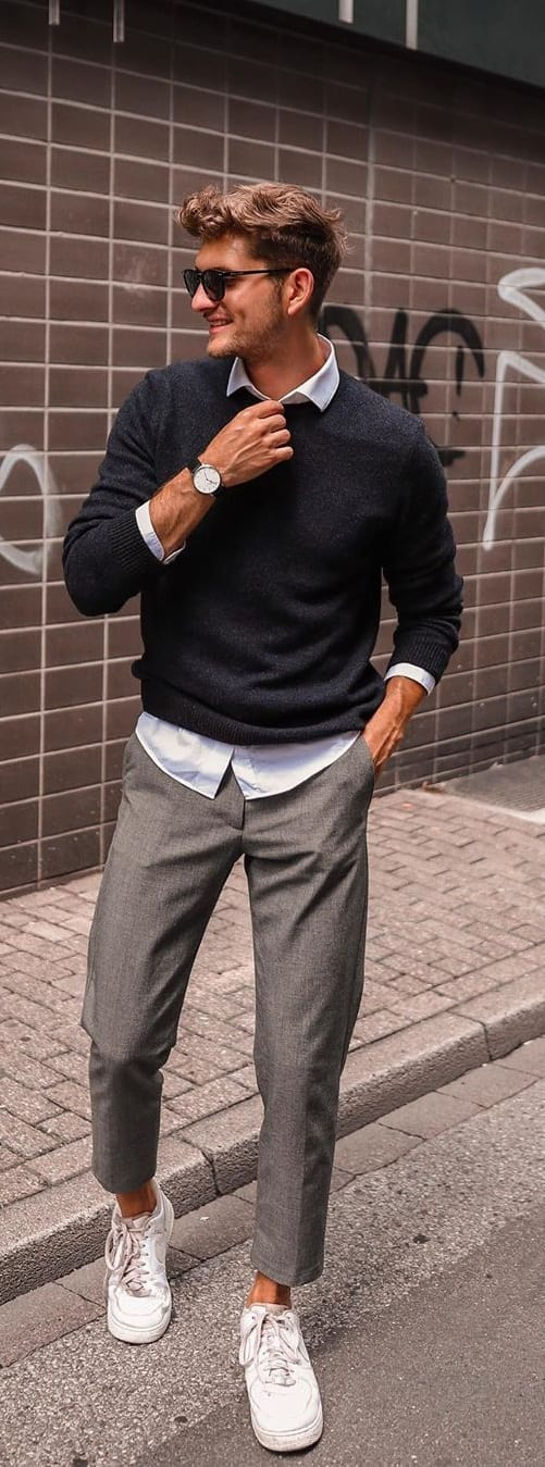 Round Neck Sweater,White Collared Undershirt, Grey Chinos and White Sneakers- OOTD for men