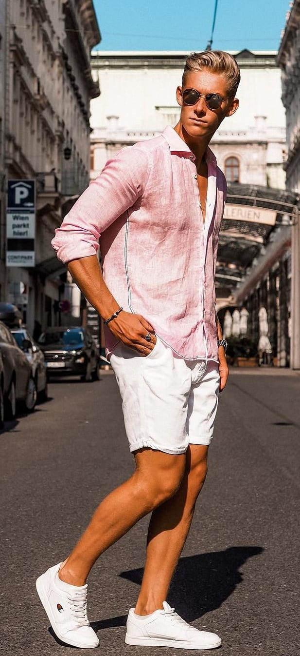 White shorts and Pastel pink linen shirt outfit