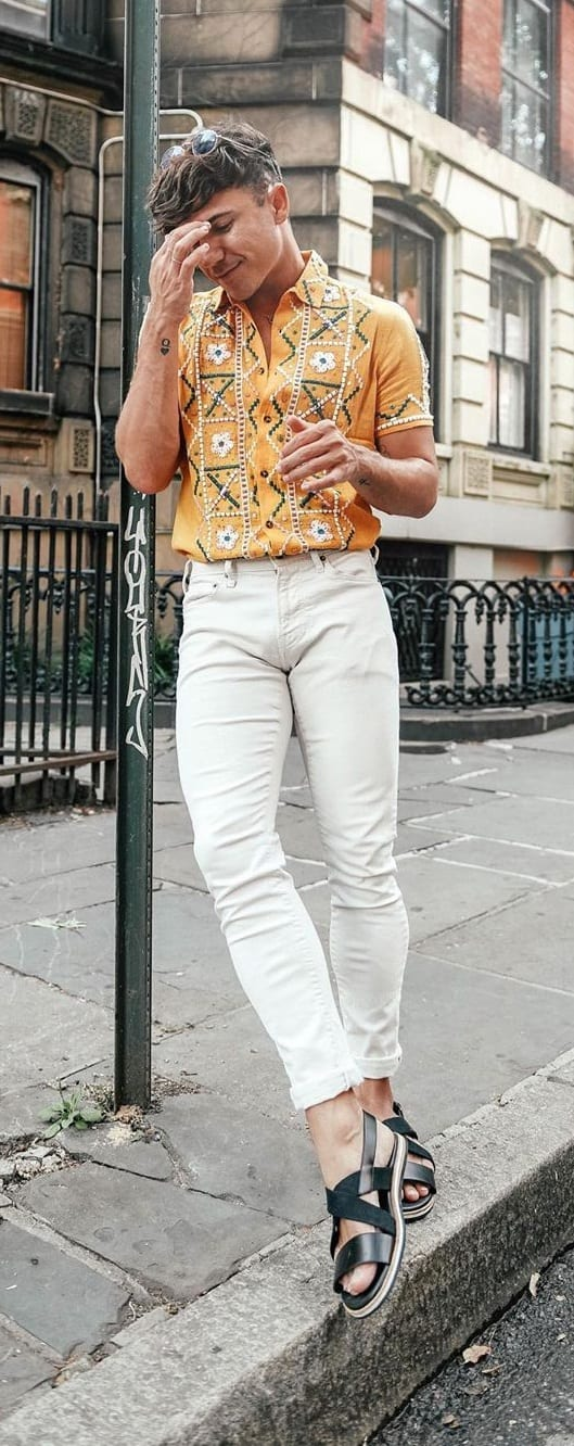 Yellow Embroidered Shirt, White Pant and Shoes- OOTD for men