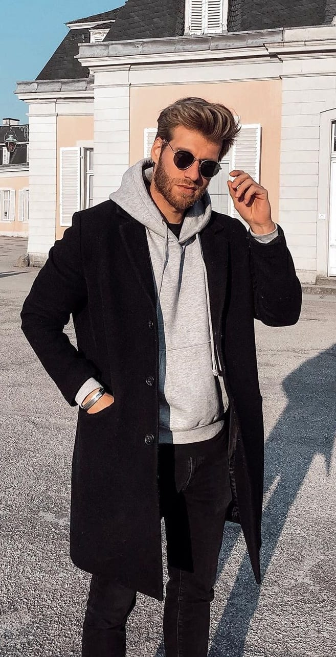 Black Overcoat, Hoodie and Tee Outfit