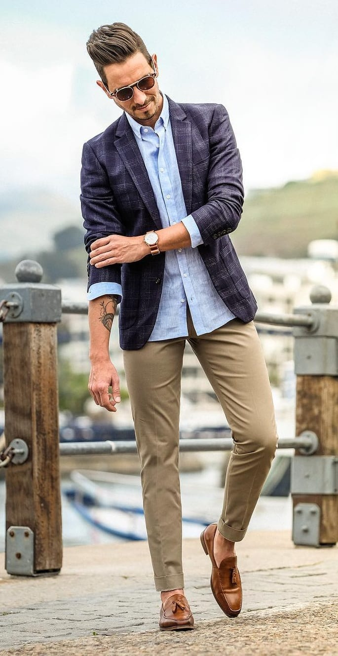 Blue Blazer, Shirt and Chinos Outfit for Smart Casual