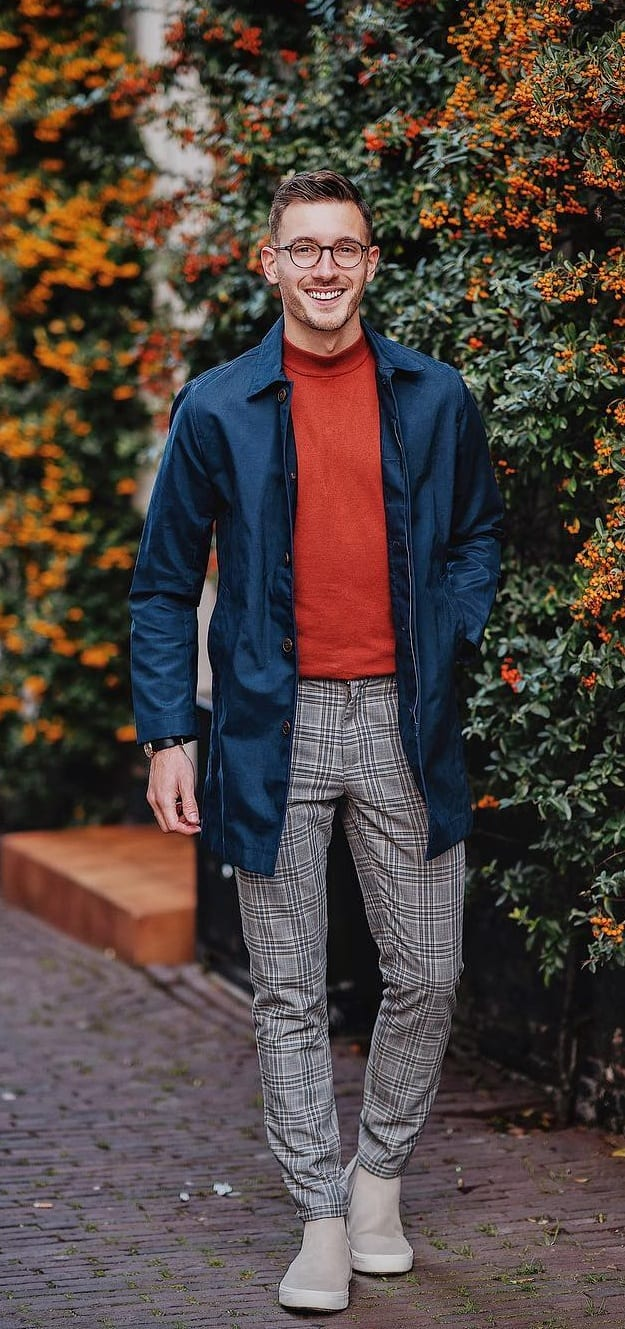 Blue Jacket, Red Turtleneck Shirt and Plaid Trousers Outfit idea for Autumn