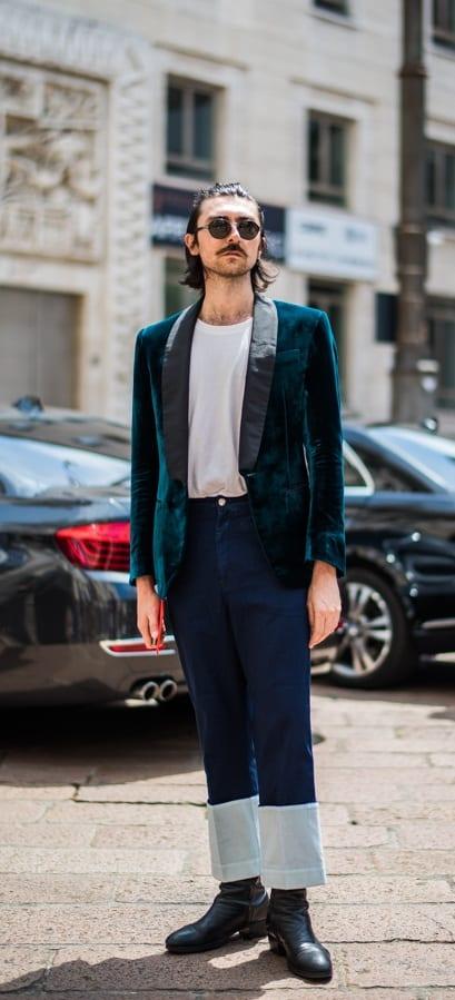 Street Style Blue Velvet Blazer