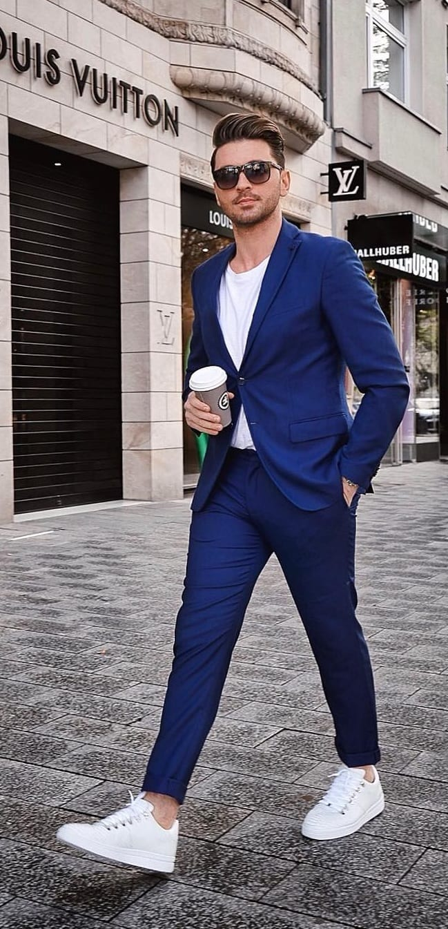 Cobalt Blue Blazer and Trouser With White Tee Outfit for men