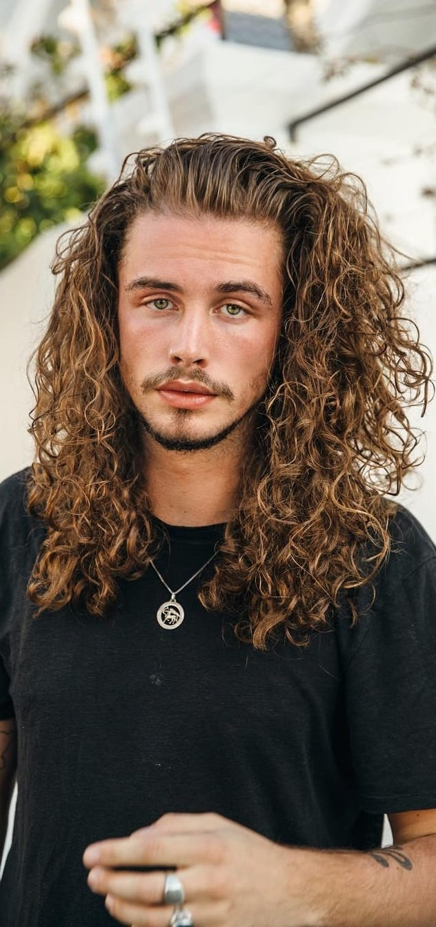 Curly Hair Long Hairstyle for Men