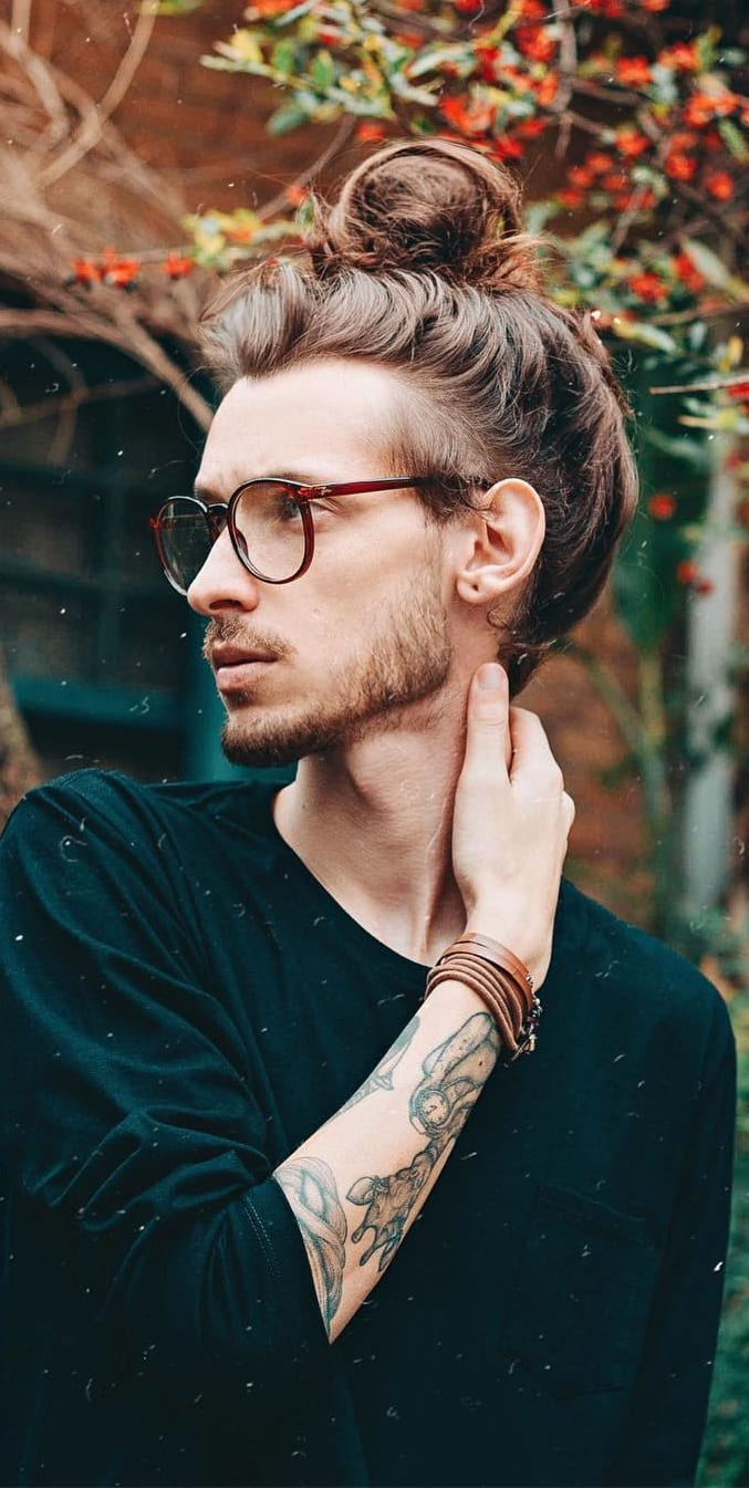 Full Man Bun For Boys with long hair to try
