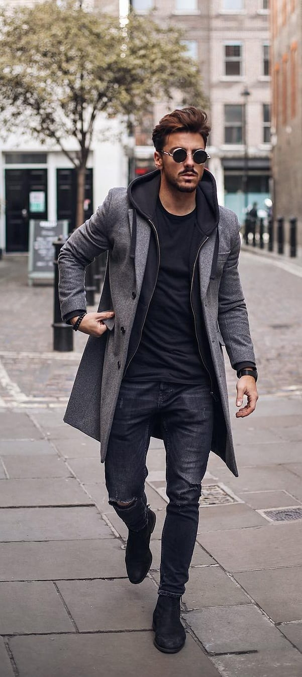 Grey Overcoat, hoodie and undershirt for men's autumn outfit