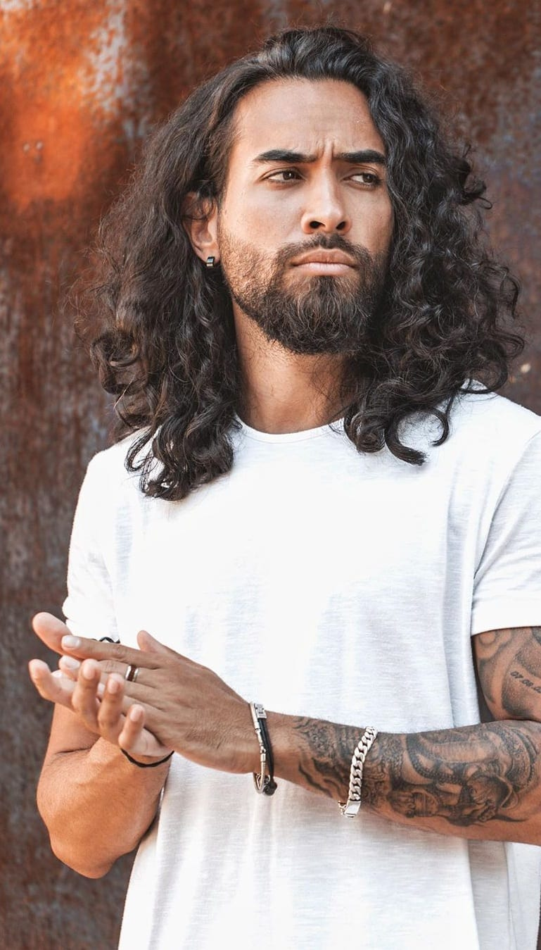 Mens Long Curly Hairstyle