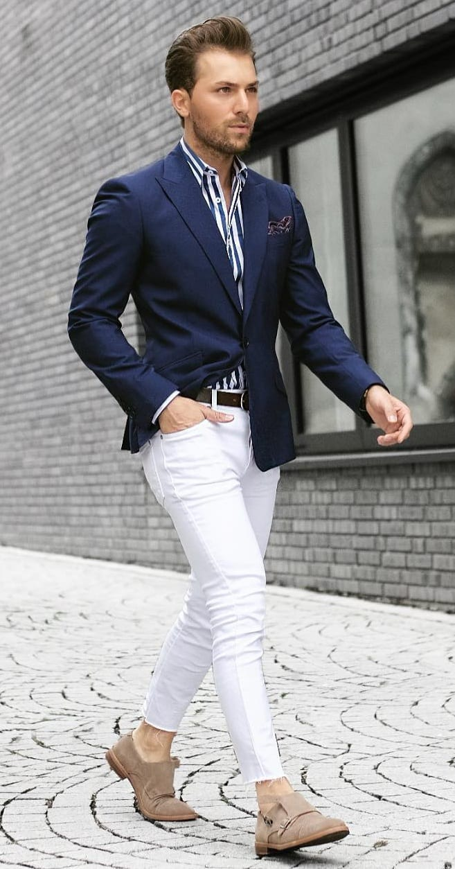 Monk Straps, Chinos, Blazer and Striped Shirt Outfit for Men