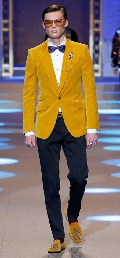 Mustard Yellow Velvet Blazer for men