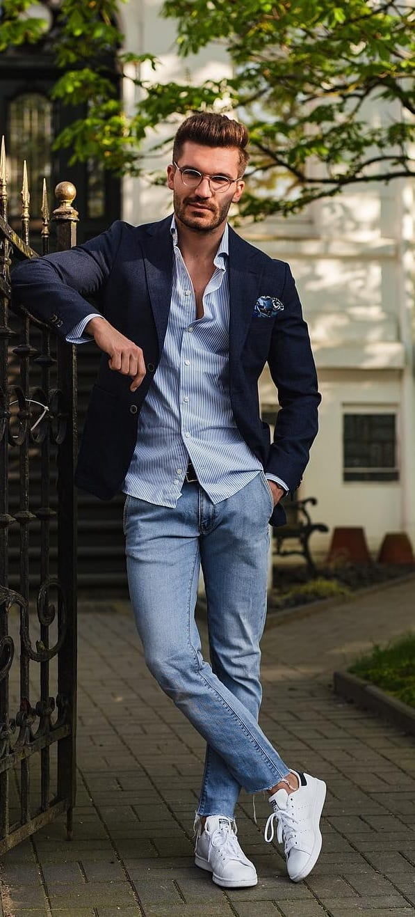 Shirt, Jeans and Blazer Outfit for a Smart Casual Look