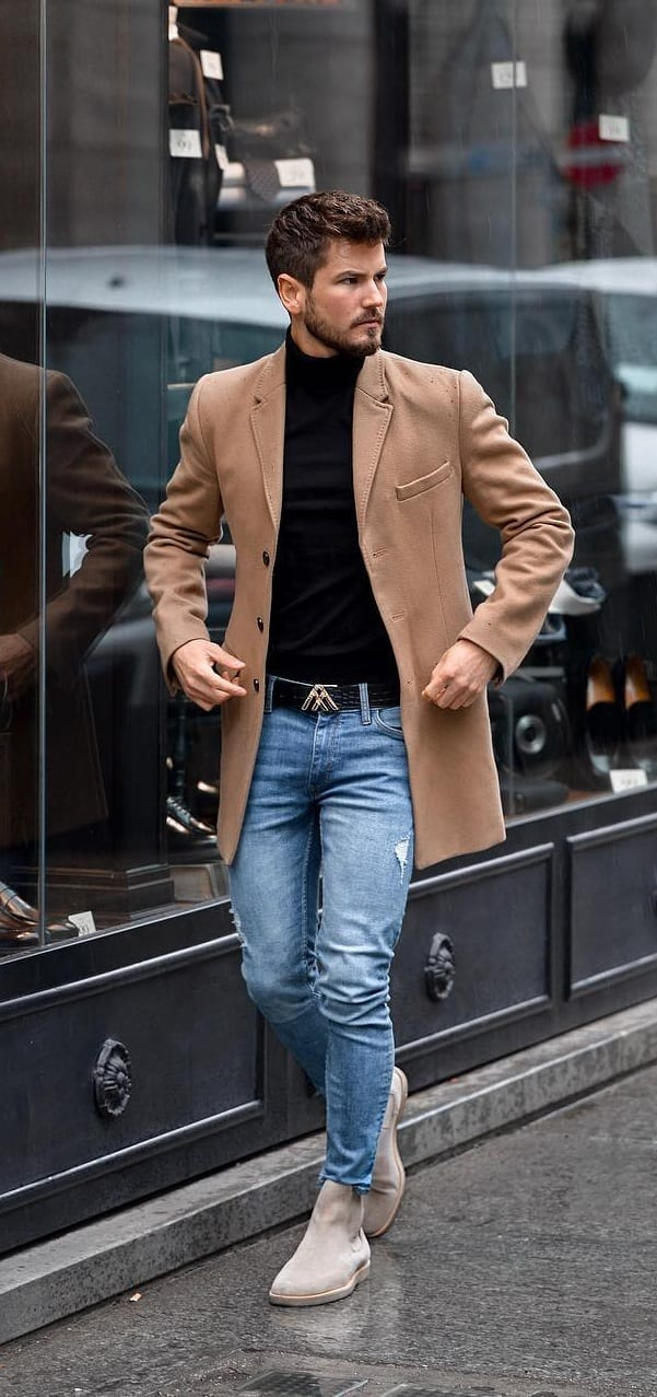 Turtleneck T shirt, Overcoat, Jeans and Boots