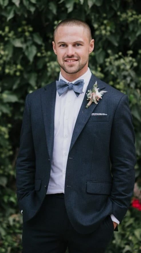 Cute Bow Tie, Pocket Square, Blue Suit Outfit for Groom