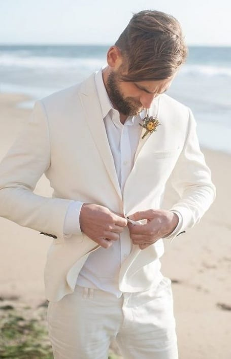 Off White Beach Wedding Suit Outfit for Groom