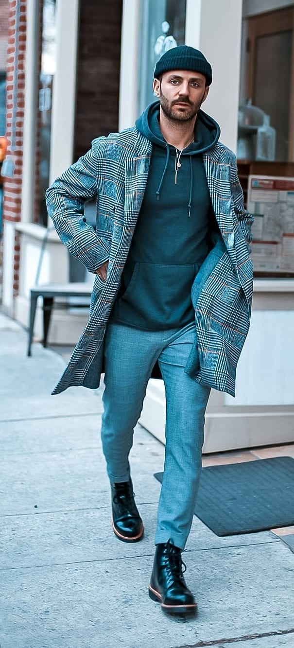 Plaid Overcoat Outfit for Men