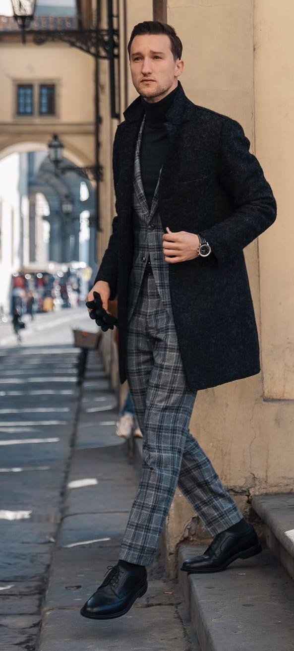 Plaid Trousers and Waistcoat with an Overcoat for men
