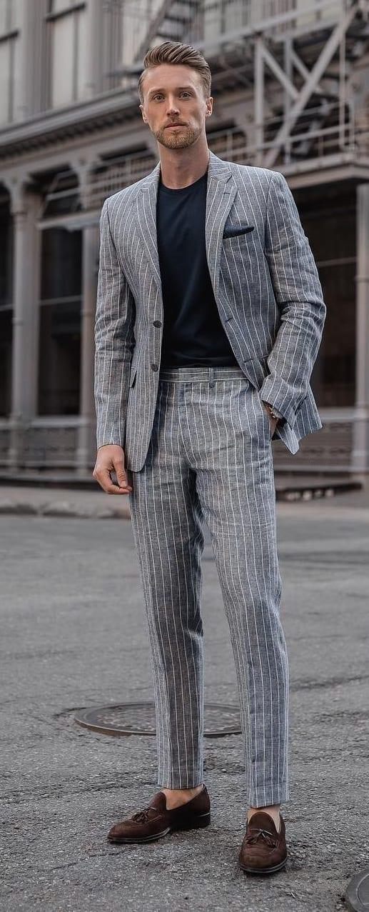 Grey Linen Striped Suit Outfit for men