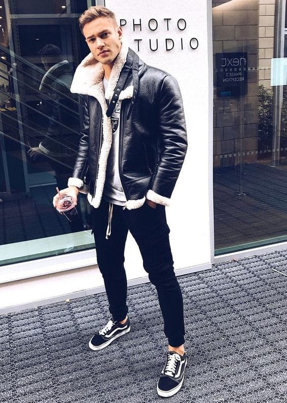 Black-leather-jacket-white-t-shirt-with-black-sneaker