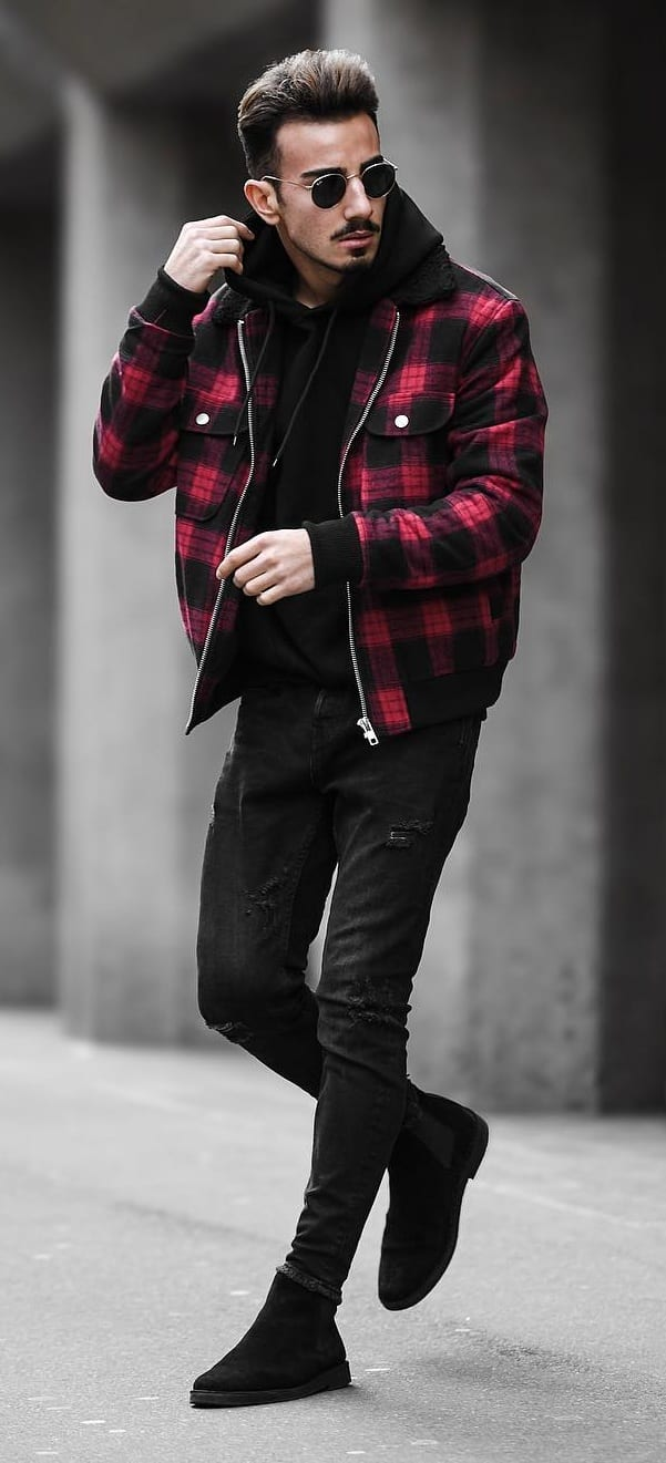 Checkered Bomber Jacket Outfit for New Year's Eve
