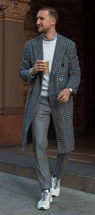 Grey Plaid Overcoat,Shirt, Sweater and Denim Outfit for Winter
