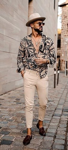 Printed Mens Shirt-Chinos- Sunglasses-Hat-Casual Outfit