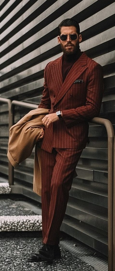 Rust Red Pinstripe Suit for Men